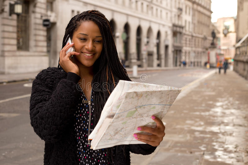 Map and phone call stock image