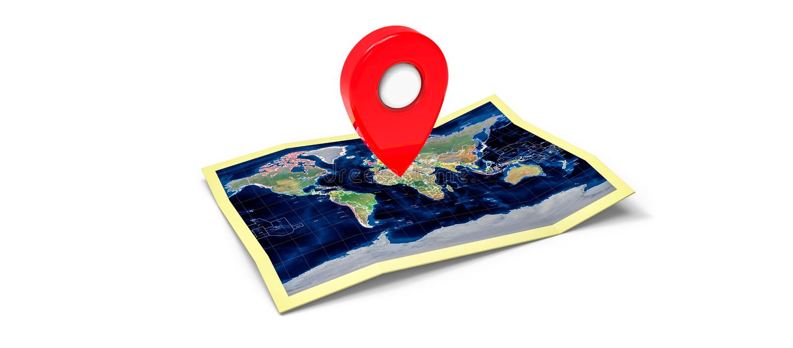 Map with a pin stock illustration