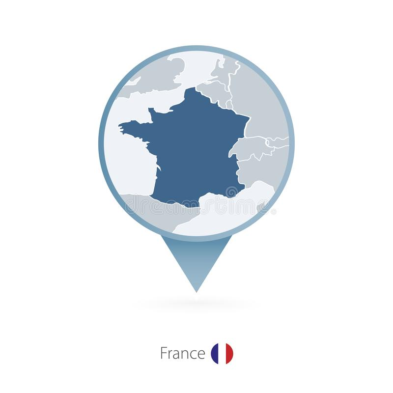 Map Of France With Neighbouring Countries.Map Of France With Neighbor Countries Pinned On World Map Stock