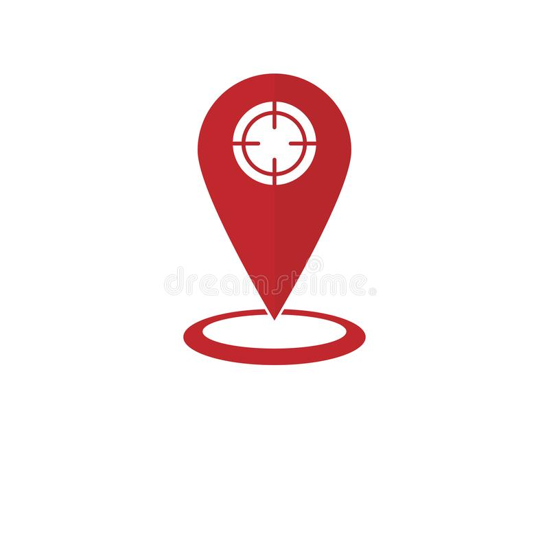 Map pin in flat design empty background. Map pin in flat design on empty background royalty free illustration