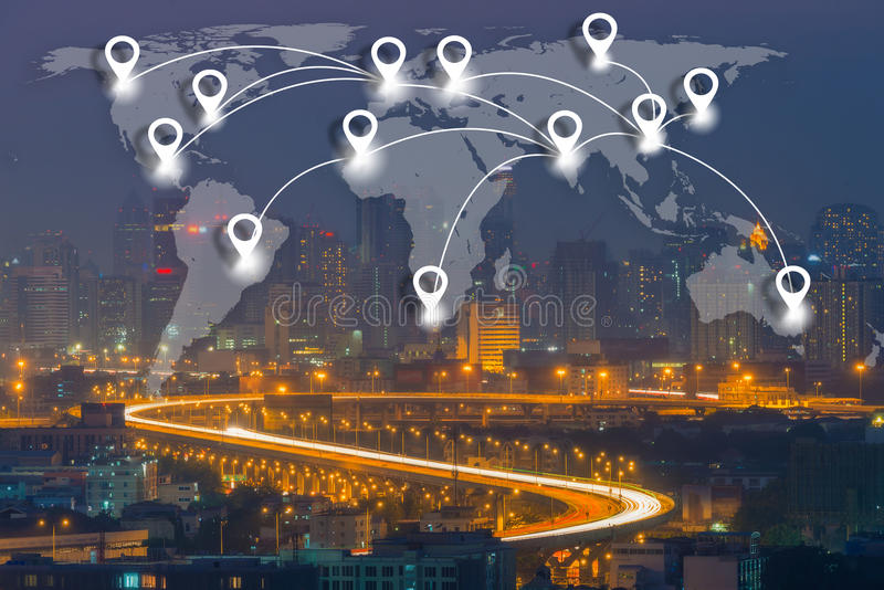 Map pin flat network conection on world global Cartography. Globalization with cityscape business district background stock photos
