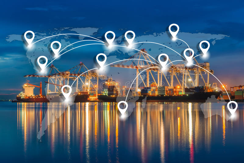 Map pin flat network conection on world global logistics and transportation connection of industrial port with containers cargo s royalty free stock photo
