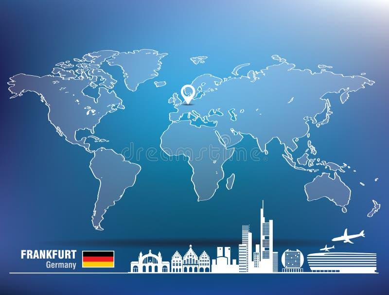 Map pin with Frankfurt skyline stock illustration