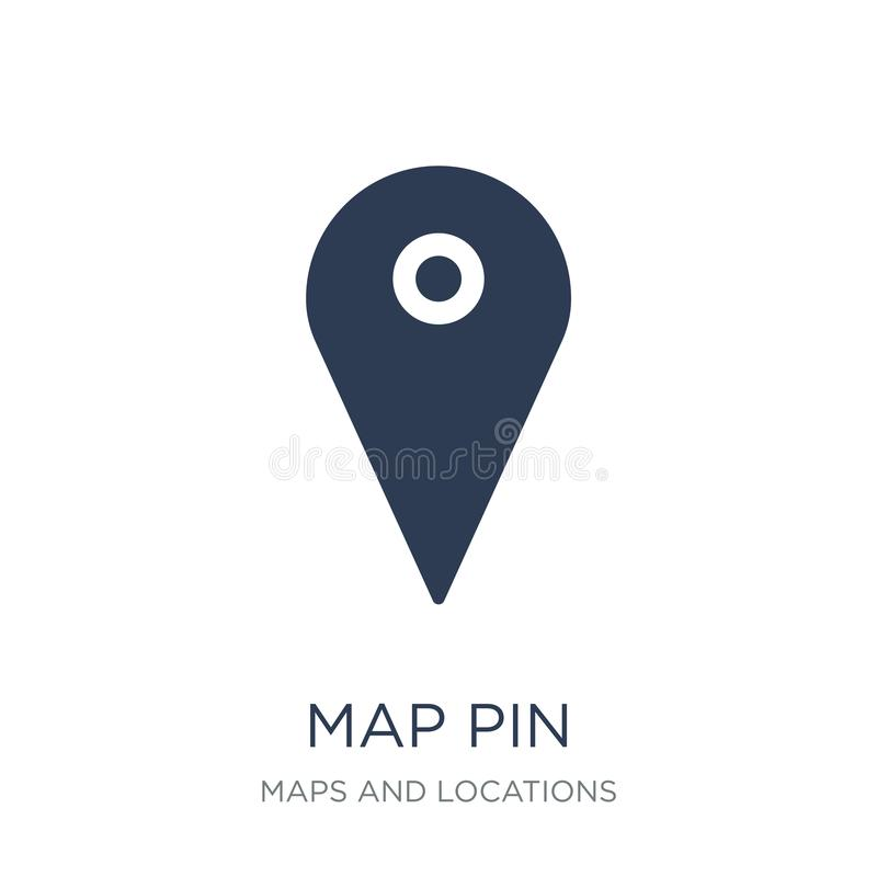 Map Pin icon. Trendy flat vector Map Pin icon on white background from Maps and Locations collection. Vector illustration can be use for web and mobile, eps10 stock illustration