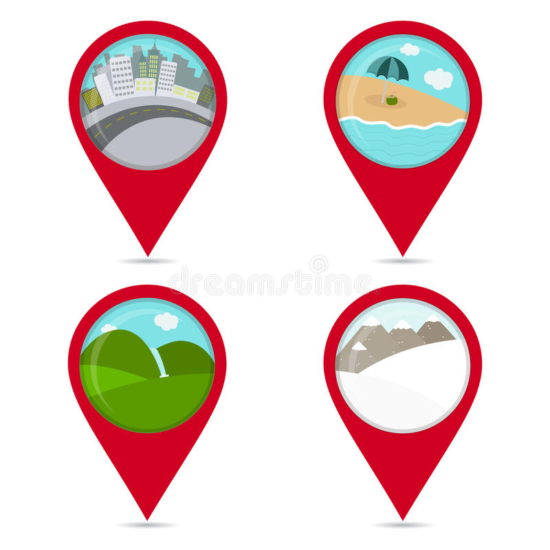 Map pin icons of lanscapes. Beach, snow, city, field. Colorful. White background vector illustration
