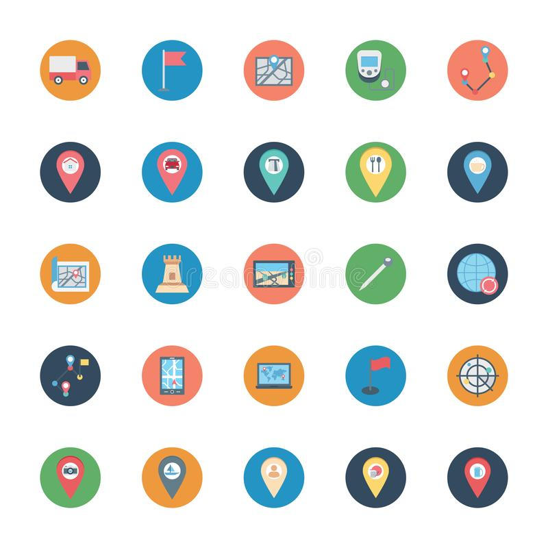 Map and pin Isolated Vector icons set consist with van, flag, device, pin and castle stock illustration