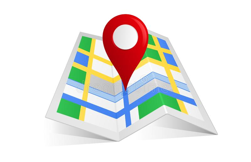 Map with a pin Locator. Concept design of illustrator vector a Map with a pin Location address isolated on white background stock illustration