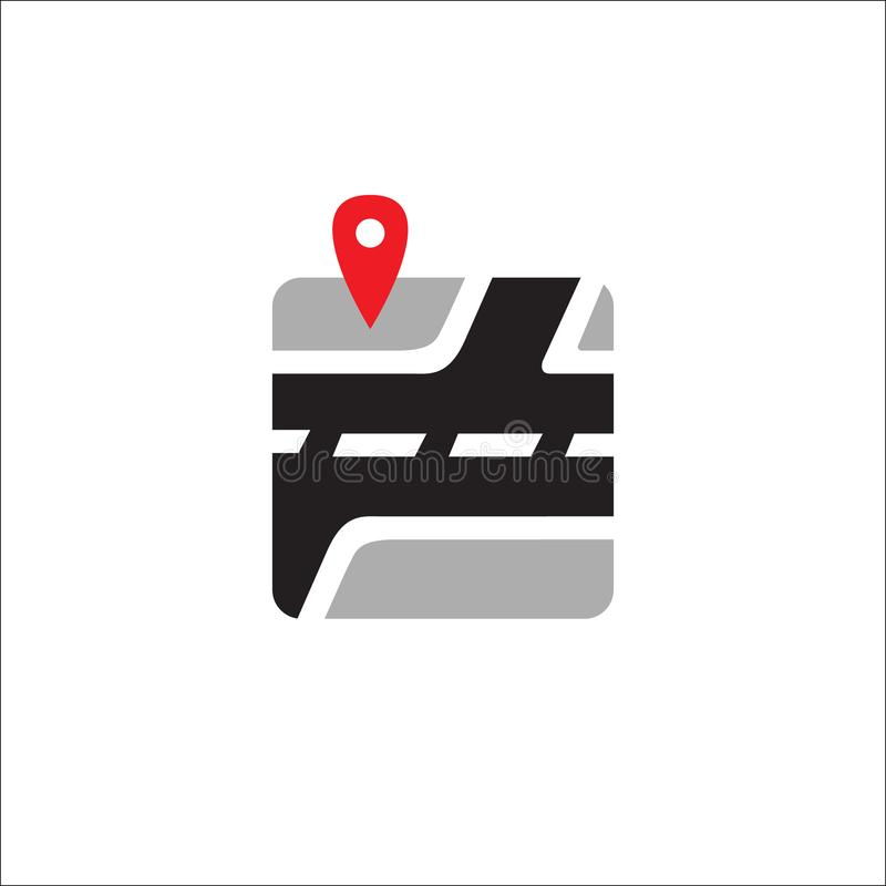 Map Pin Logo Design vector icon illustration. Location, gps, symbol, travel, pointer, road, navigation, business, marker, isolated, element, city, local royalty free illustration