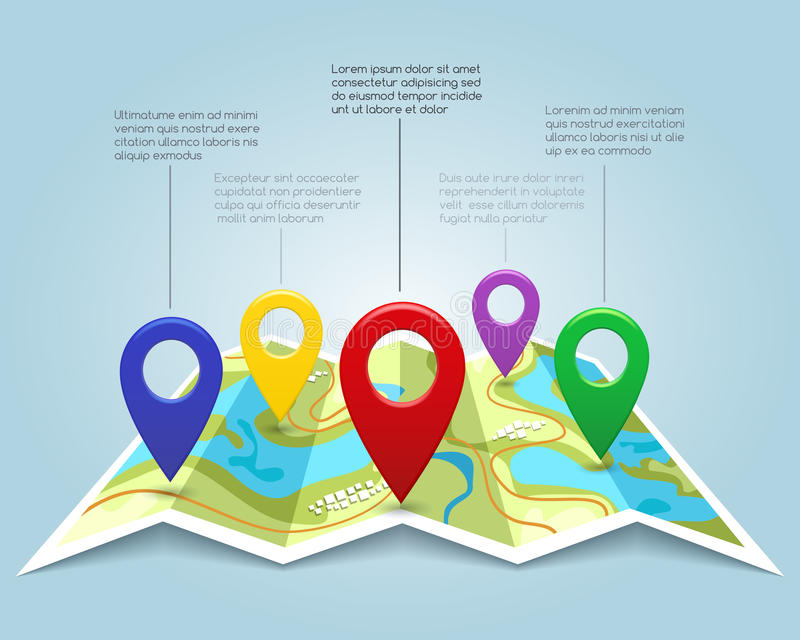 Map with pin markers vector illustration. Cartography location pointers. Banner with map marks and color pins royalty free illustration