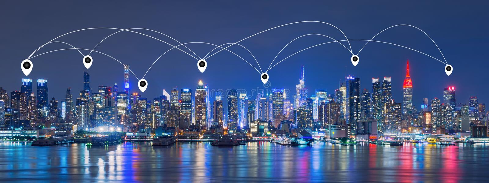 Map Pin Network And Connection Technology Concept Of Skyline Of