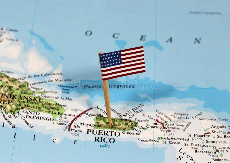 Map with pin point of Puerto Rico royalty free stock photography