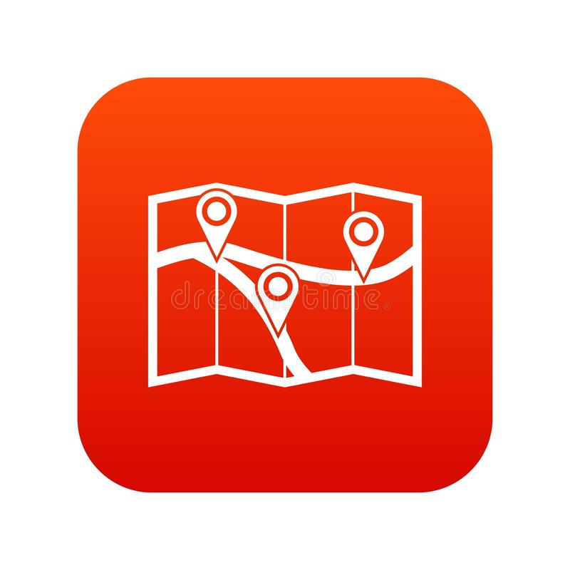 Map with pin pointers icon digital red royalty free illustration