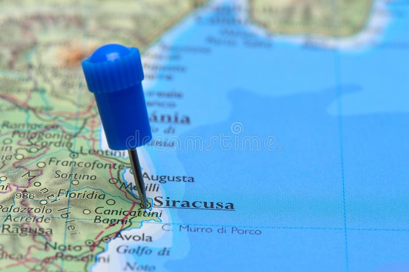 Map With Pin In Of Siracusa Italy Stock Photo Image of