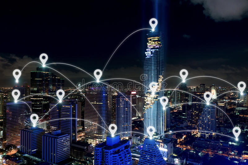 Map pin at smart city and wireless communication network, business district with office building, abstract image visual, internet. Of things concept royalty free stock photo