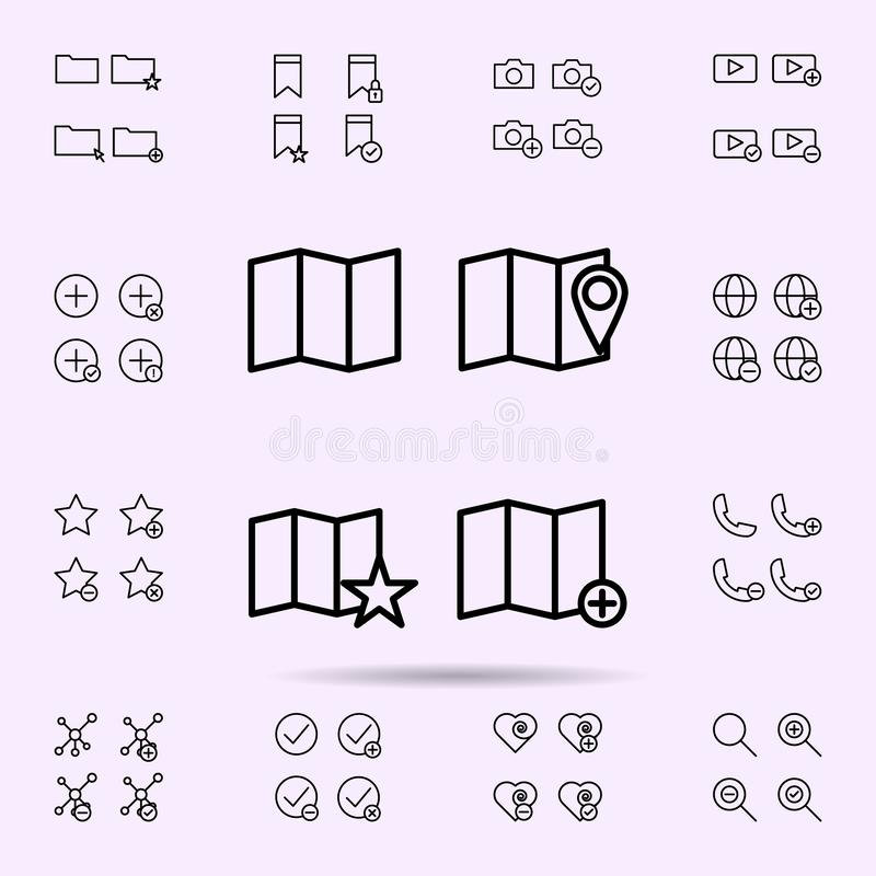 Map, pin, star, add sign icon. web icons universal set for web and mobile. On color background royalty free illustration