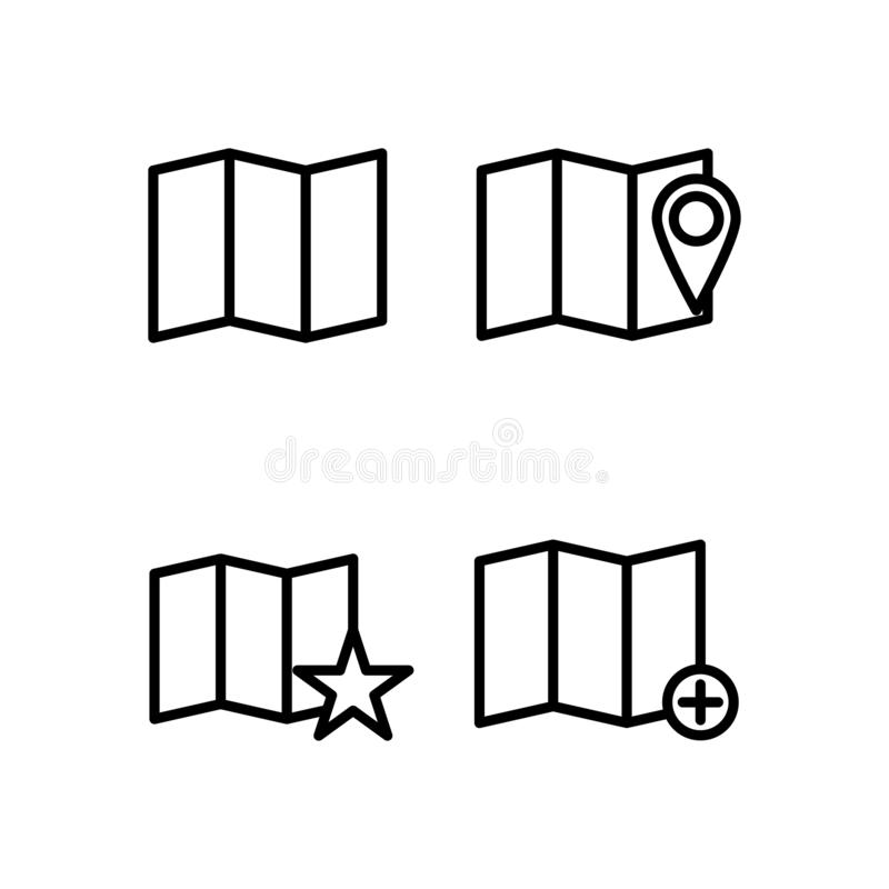 Map, pin, star, add sign icons. Element of outline button icons. Thin line icon for website design and development, app. Development on white background vector illustration
