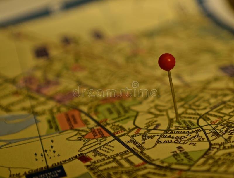 Map. A pin in a map to pin point an area. Map is of Oahu island of Hawaii stock image
