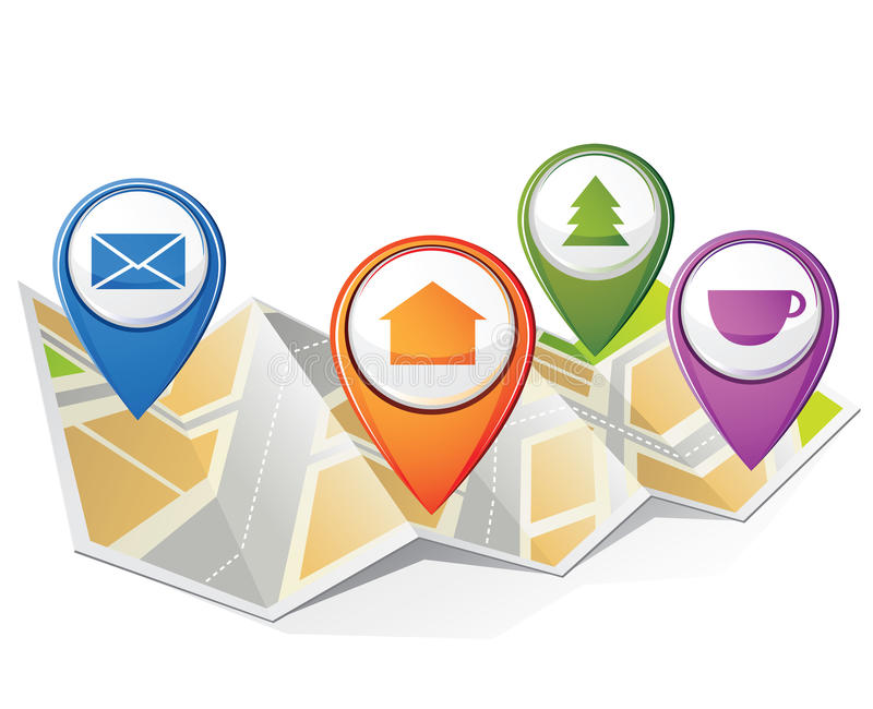 Map With Pins Stock Images