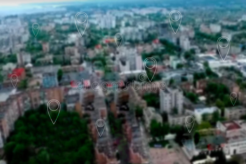 Map pins above modern city. Map pin flat above blue tone city scape and network connection concept stock photos