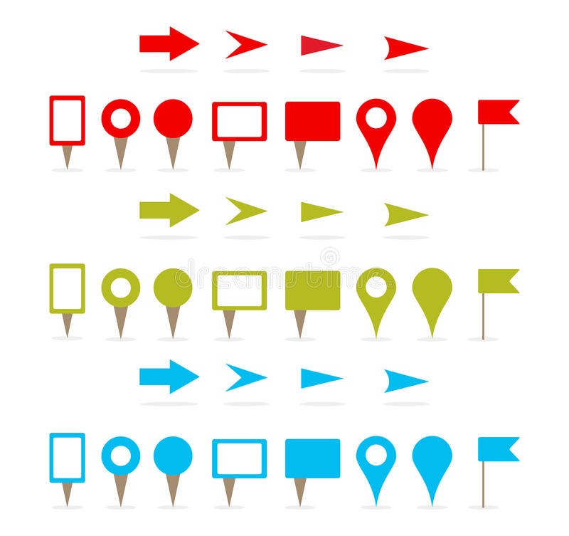 Map pins and arrows stock illustration
