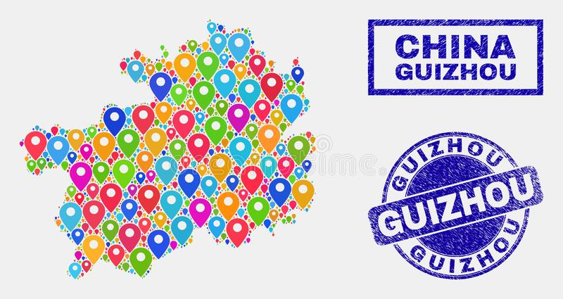 Map Pins Collage of Guizhou Province Map and Scratched Stamp Seals. Vector colorful mosaic Guizhou Province map and grunge stamp seals. Flat Guizhou Province map royalty free illustration