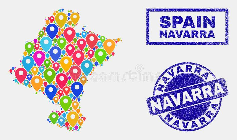 Map Pins Collage of Navarra Province Map and Distress Stamp Seals. Vector colorful mosaic Navarra Province map and grunge stamp seals. Abstract Navarra Province stock illustration