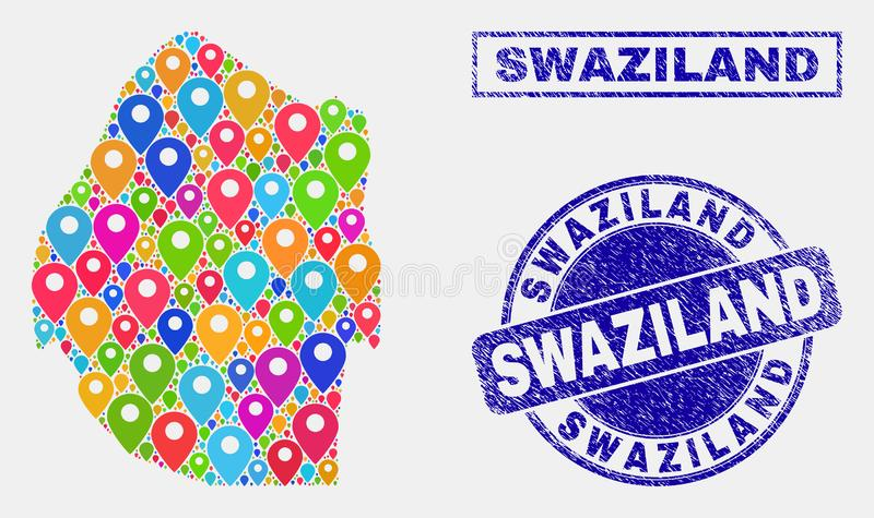 Map Pins Collage of Swaziland Map and Grunge Stamp Seals. Vector colorful mosaic Swaziland map and grunge stamp seals. Abstract Swaziland map is composed from stock illustration