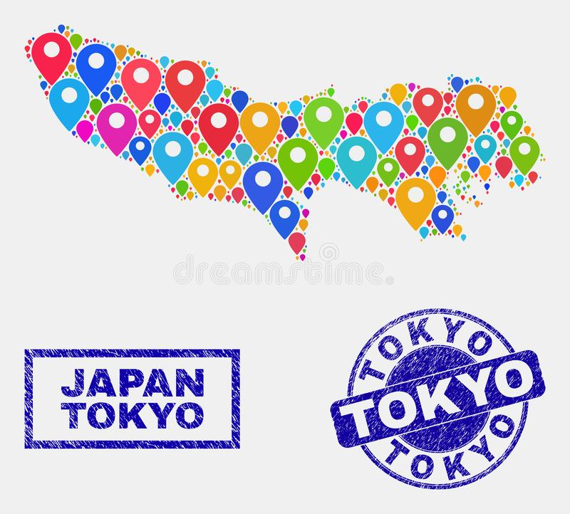 Map Pins Collage of Tokyo Prefecture Map and Grunge Seals stock illustration