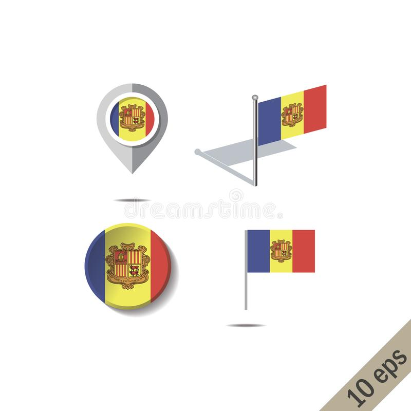 Map pins with flag of ANDORRA stock illustration