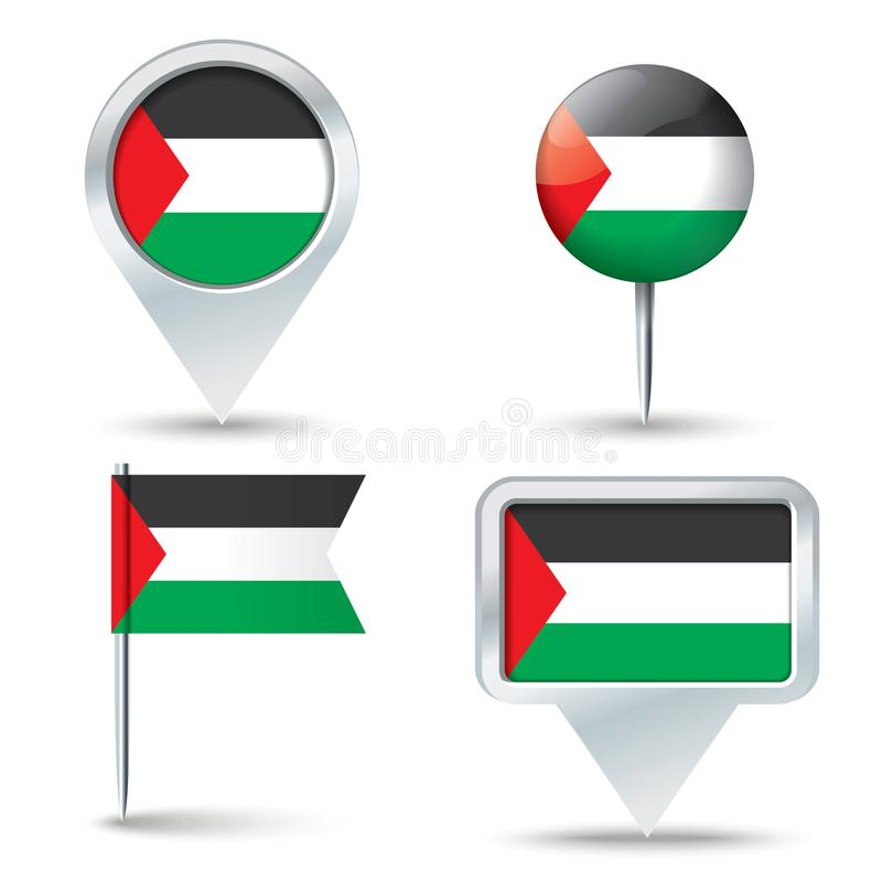Map pins with flag of Gaza Strip. Vector illustration royalty free illustration