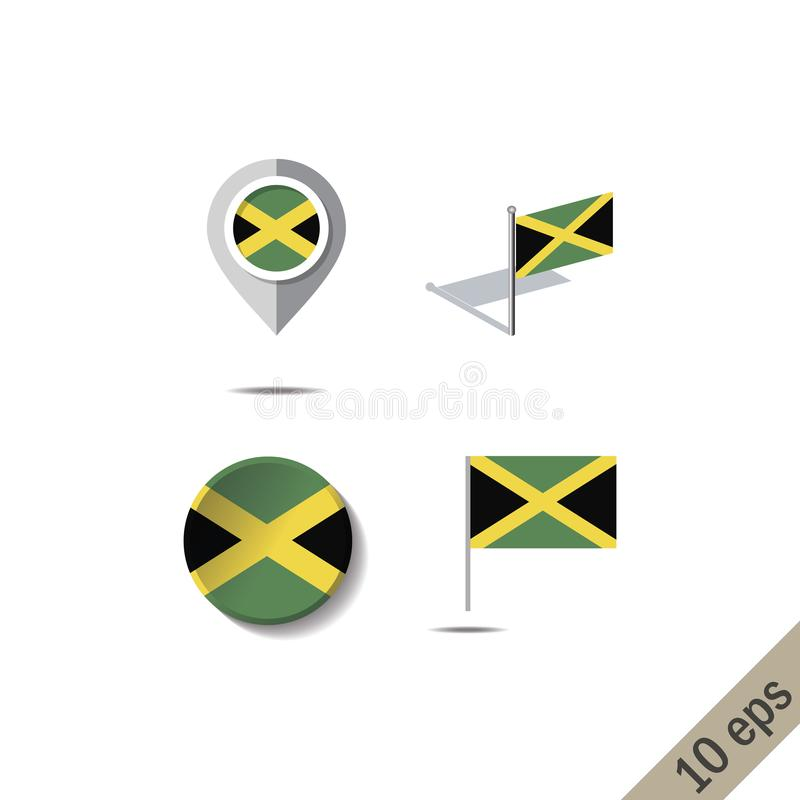 Map pins with flag of JAMAICA. Vector illustration vector illustration