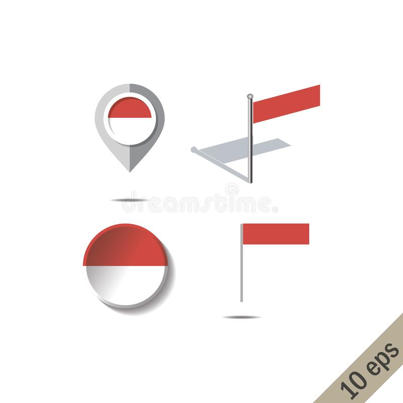Map pins with flag of MONACO stock illustration