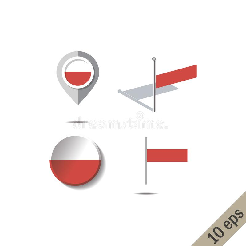 Map pins with flag of POLAND. Vector illustration stock illustration