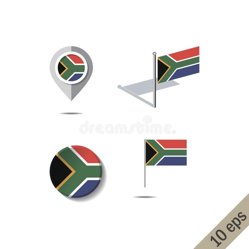 Map pins with flag of SOUTH AFRICA. Vector illustration stock illustration