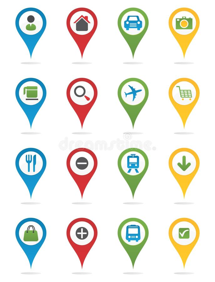 Map pins with icons stock illustration