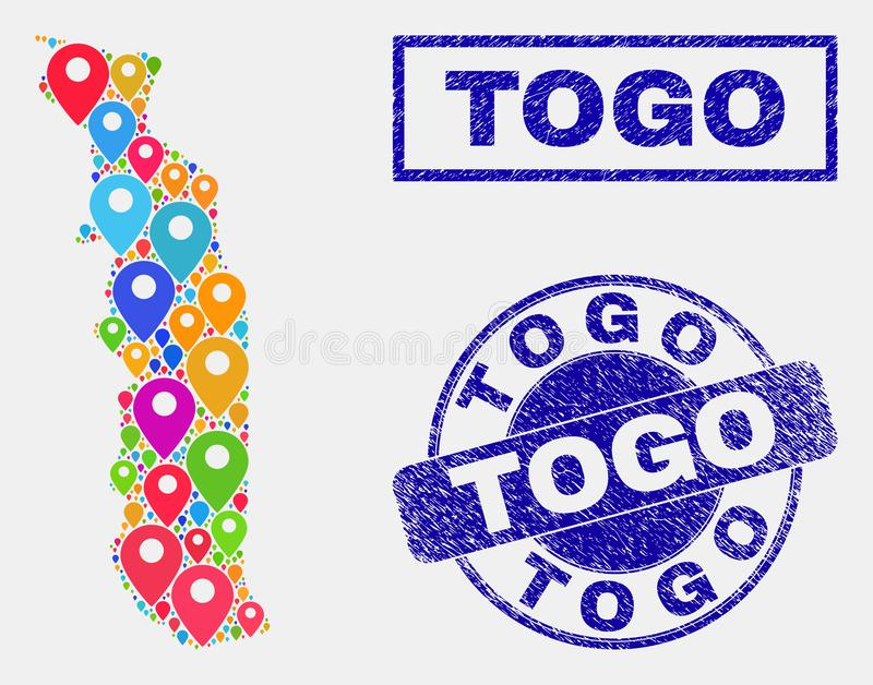 Map Pins Mosaic of Togo Map and Distress Stamp Seals. Vector colorful mosaic Togo map and grunge stamp seals. Abstract Togo map is composed from scattered royalty free illustration