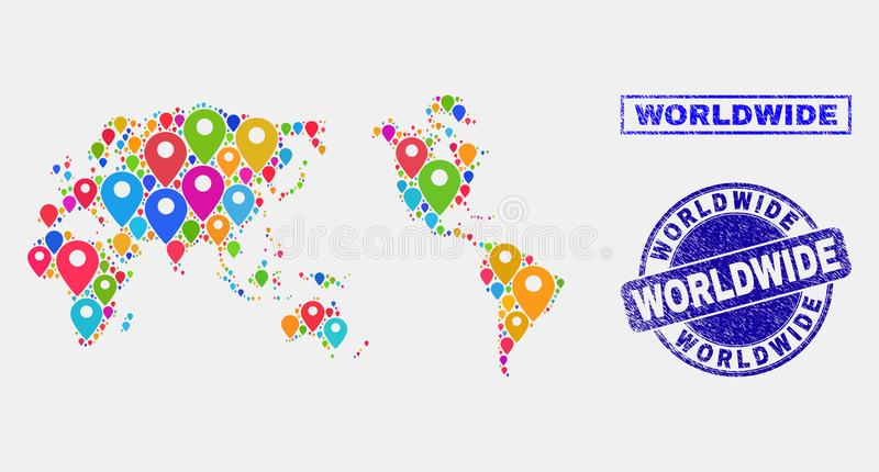 Map Pins Mosaic of Worldwide Map and Distress Stamp Seals. Vector bright mosaic worldwide map and grunge stamp seals. Flat worldwide map is composed from random vector illustration
