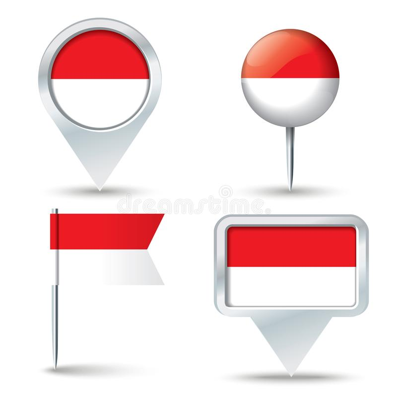 Free Map Pins With Flag Of Indonesia Stock Images - 125157894