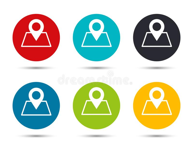 Map point icon flat round button set illustration design. Isolated on white background vector illustration
