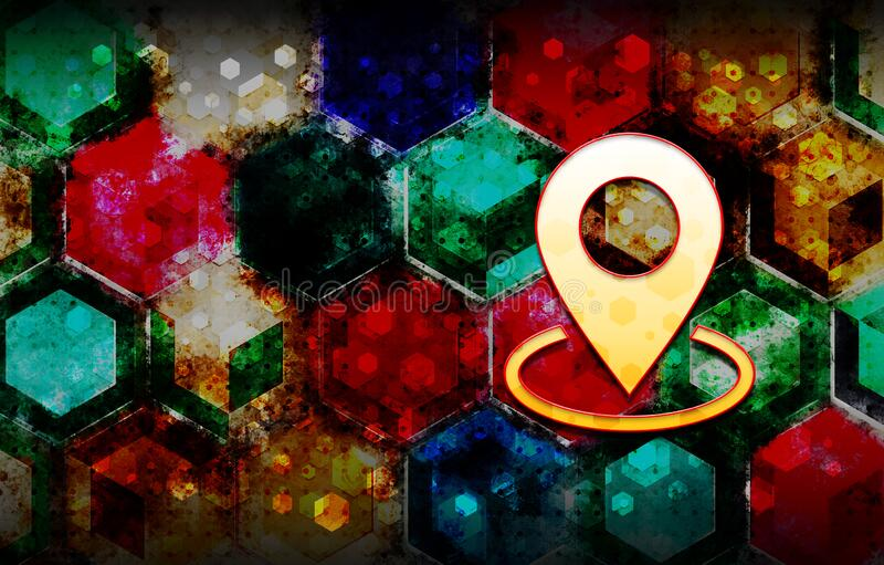 Map point icon abstract 3d colorful hexagon isometric design illustration background. Map point icon isolated on abstract 3d colorful hexagon isometric design royalty free illustration