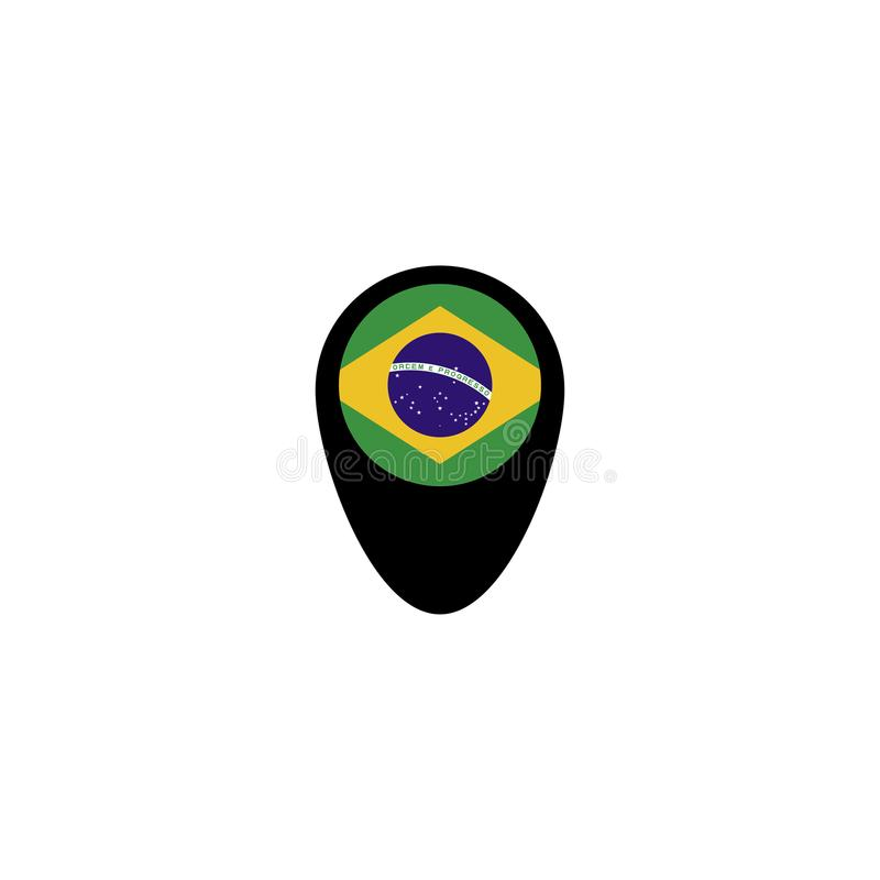 Map pointer with Brazil flag . Vector illustration. vector illustration