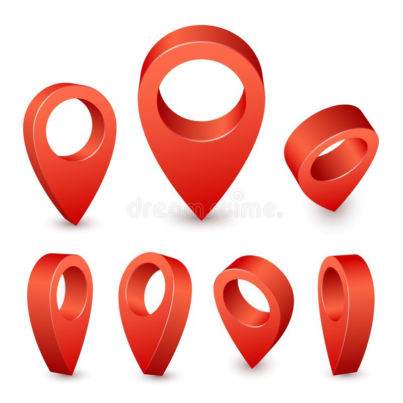 Map pointer 3d pin. Red pin marker for travel place. Location symbols vector set on white background royalty free illustration