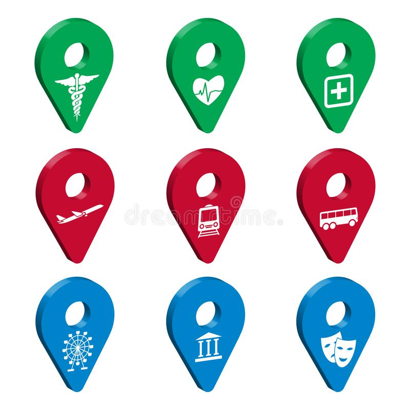 Map pointer 3d pin for Smart City. Set of 3D geolocation signs with icons.  Transport, medicine, recreation. Location symbols vect. Or set isolated on white vector illustration