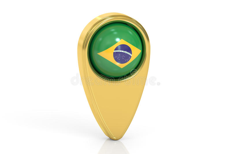 Map pointer with flag of Brazil, 3D rendering stock illustration