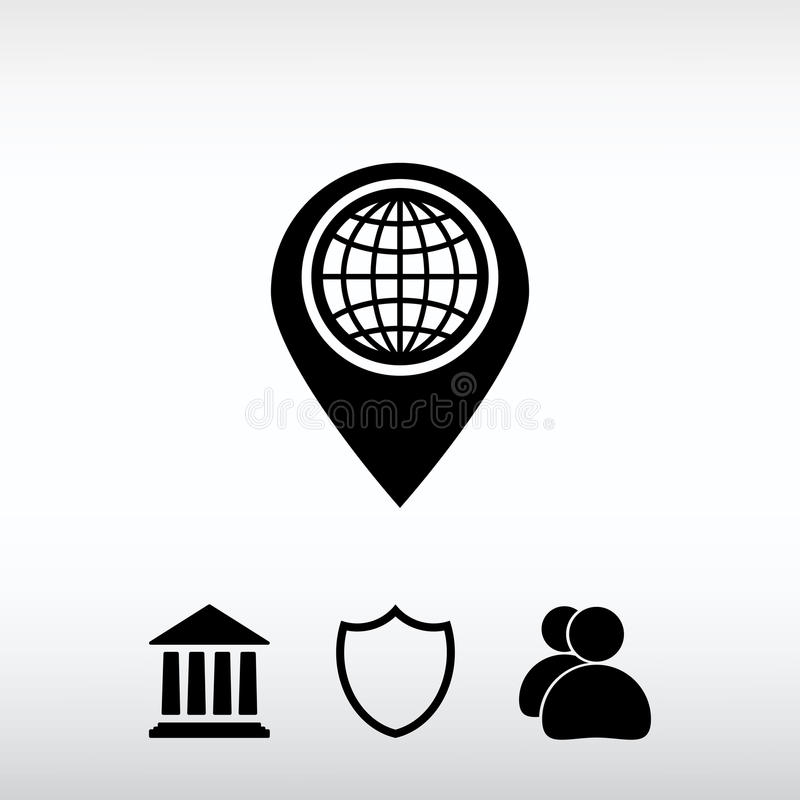 Map pointer flat icon, vector illustration. Flat design style stock photos