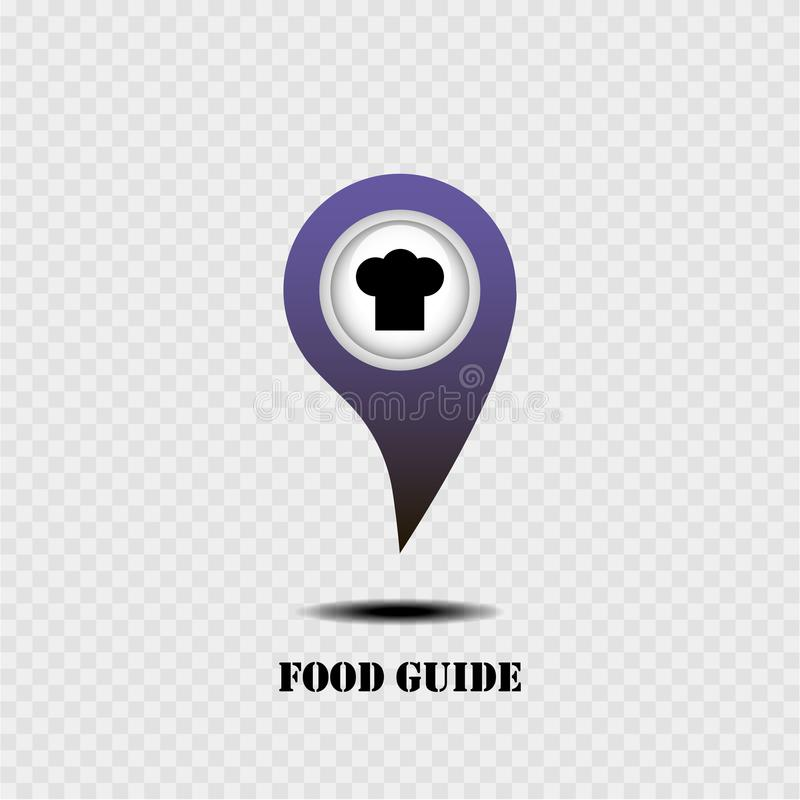 Map pointer with food guide. Grey background. Vector illustration. royalty free illustration