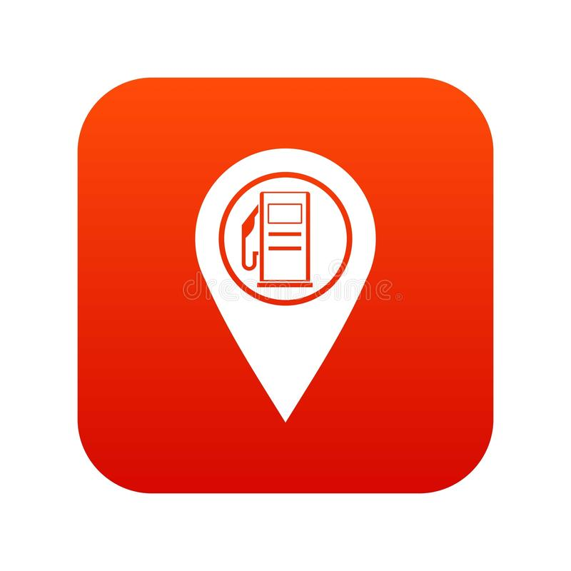 Map Pointer With Gas Station Symbol Icon Digital Red Stock Vector