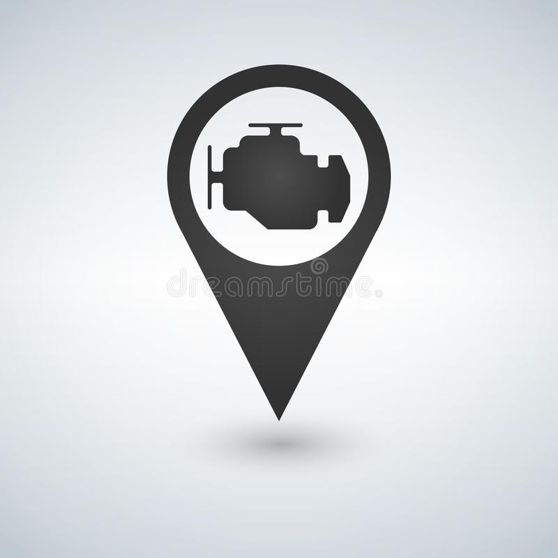Map Pointer And Map Icon Car Service Engine Sign Vector
