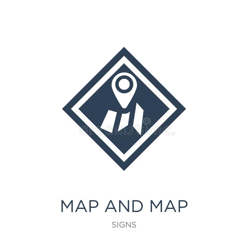 Map and map pointer icon in trendy design style. map and map pointer icon isolated on white background. map and map pointer vector. Icon simple and modern flat vector illustration