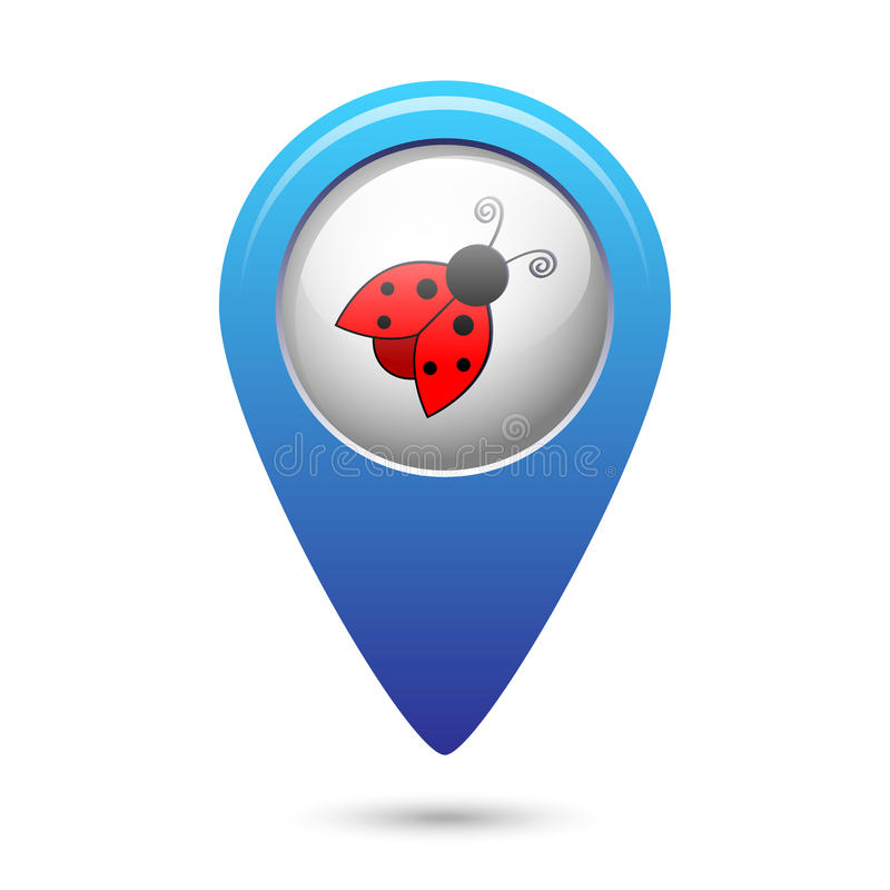 Map pointer with ladybug icon stock illustration